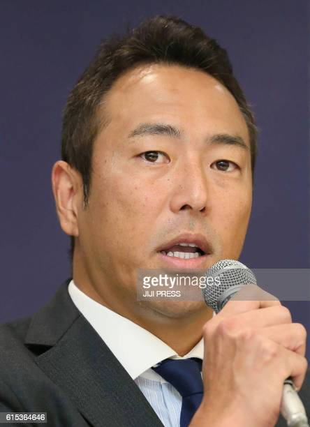 Former New York Yankees pitcher Hiroki Kuroda speaks at a press conference in Hiroshima on October 18 2016 Kuroda on October 18 announced his...