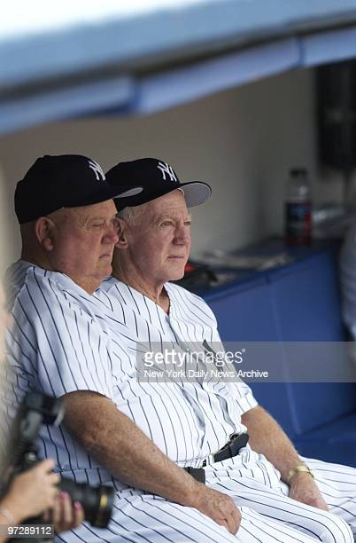 Former New York Yankees' pitcher Whitey Ford sits in the dugout with Yanks' bench coach Don Zimmer during 57th annual OldTimers' Day festivities at...