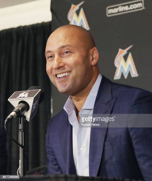 Former New York Yankees star Derek Jeter speaks at a press conference in Miami Florida on Oct 3 after the club announced his appointment as CEO of...