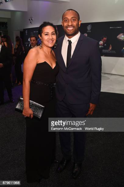 Former New Zealand All Black Joe Rokocoko and his wife Beverley attend the World Rugby Awards 2017 in the Salle des Etoiles at MonteCarlo Sporting...