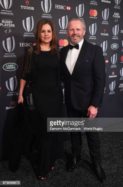 Former New Zealand All Black Sean Fitzpatrick and his wife Bronwyn attend the World Rugby via Getty Images Awards 2017 in the Salle des Etoiles at...