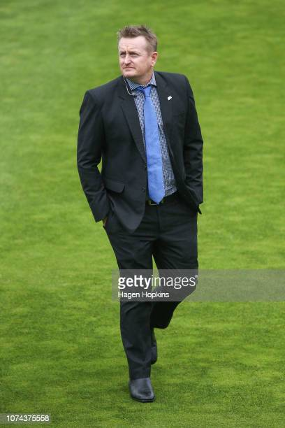 Former New Zealand cricketer and current Sky Sport presenter Scott Styris looks on during a rain delay on day five of the First Test match in the...