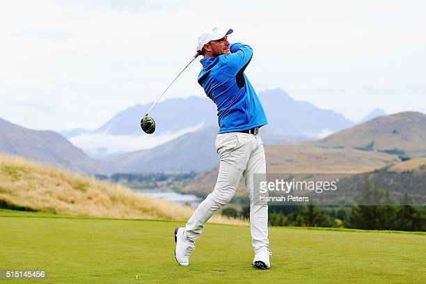 Former New Zealand cricketer Brendon McCullum tees off during day four of the 2016 New Zealand Open at The Hills on March 13 2016 in Queenstown New...
