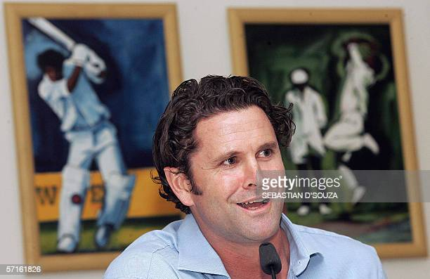 Former New Zealand cricketer Chris Cairns speaks during a press conference held at the launch of the 'Chris Cairns Foundation' in Mumbai late 22...
