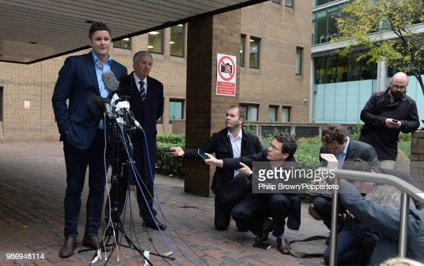 Former New Zealand cricketer Chris Cairns talks to the media after being found not guilty of perjury at Southwark Crown Court, London, 30th November...