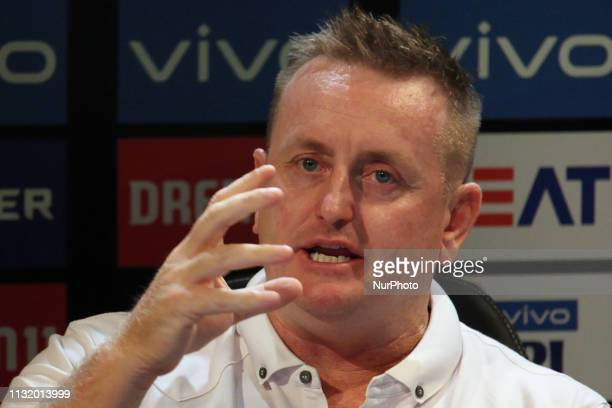 Former New Zealand cricketer Scott Styris reacts while addressesing the media in a press conference in Mumbai India on 22 March 2019 As the official...