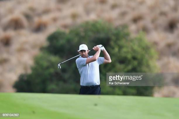 Former New Zealand cricketer Stephen Fleming plays a shot during day two of the ISPS Handa New Zealand Golf Open at The Hills Golf Club on March 2,...