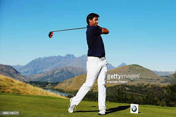 Former New Zealand cricketer Stephen Fleming tees off during day four of the New Zealand Open at The Hills Golf Club on March 15, 2015 in Queenstown,...