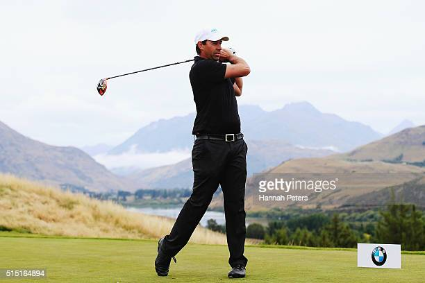 Former New Zealand cricketer Stephen Fleming tees off during day four of the 2016 New Zealand Open at The Hills on March 13, 2016 in Queenstown, New...