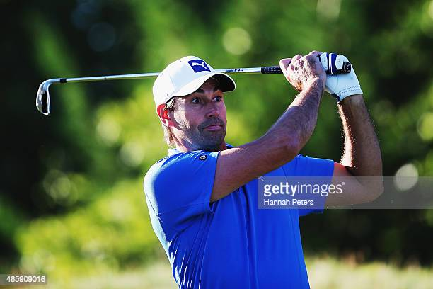 Former New Zealand cricketer Stephen Fleming tees off during day one of the New Zealand Open at Millbrook Resort on March 12, 2015 in Queenstown, New...