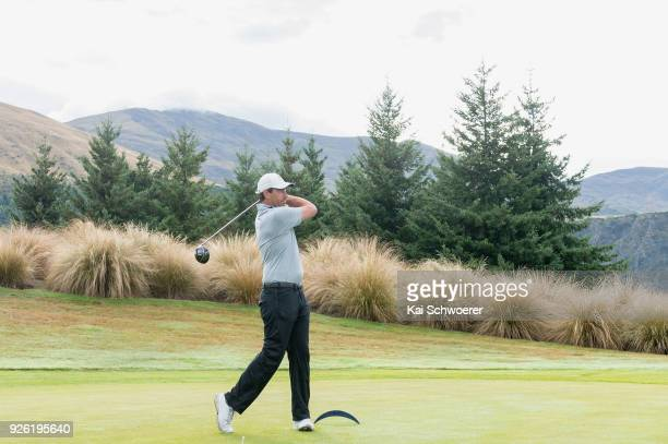 Former New Zealand cricketer Stephen Fleming tees off during day two of the ISPS Handa New Zealand Golf Open at The Hills Golf Club on March 2, 2018...