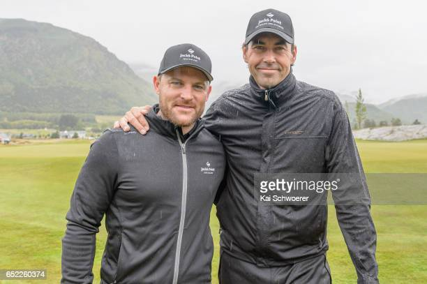 Former New Zealand cricketers Brendon McCullum and Stephen Fleming pose during day four of the New Zealand Open at Millbrook Resort on March 12, 2017...