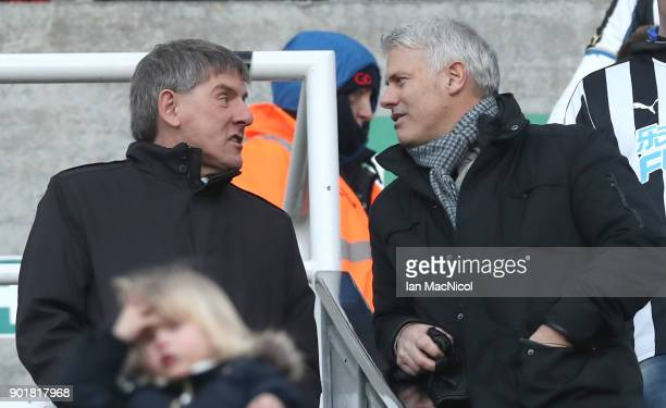 Former Newcastle players Peter Beardsley and Rob Lee talk prior to The Emirates FA Cup Third Round match between Newcastle United and Luton Town at...