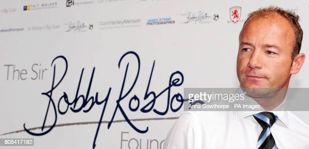 Former Newcastle United and England footballer Alan Shearer announces he has become a patron of the Sir Bobby Robson Foundation during a press...