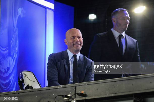 Former Newcastle United footballer Alan Shearer smiles at the fans during the FA Cup Fourth Round Replay match between Oxford United and Newcastle...
