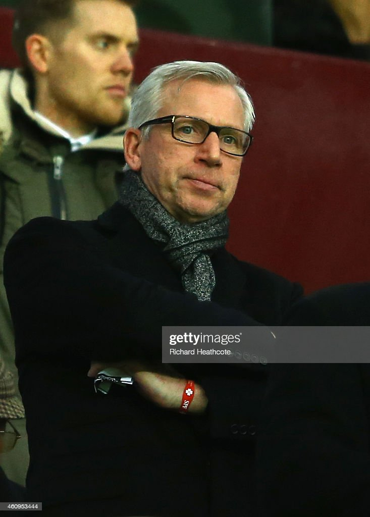 Former Newcastle United manager Alan Pardew looks on during the Barclays Premier League match between Aston Villa and Crystal Palace at Villa Park on January 1, 2015 in Birmingham, England.