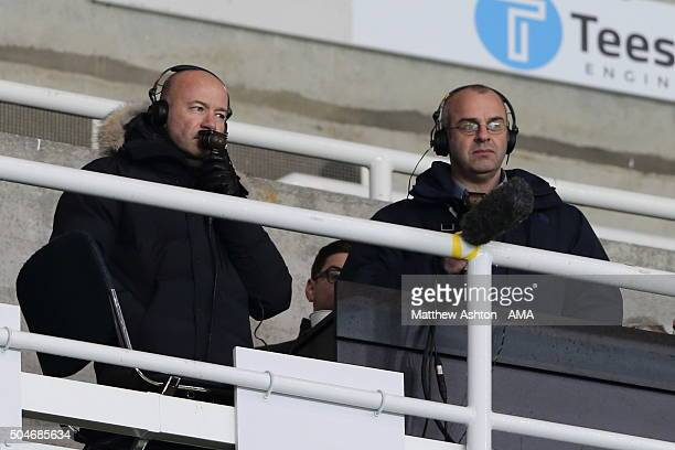 Former Newcastle United player Alan Shearer works on his first live radio broadcast with BBC Five Live alongside Ian Dennis during the Barclays...