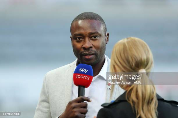 Former Newcastle United player Shola Ameobi talks to Sky Sports during the Premier League match between Newcastle United and Wolverhampton Wanderers...