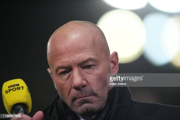 Former Newcastle United striker Alan Shearer working as a BBC TV pundit during the FA Cup Fourth Round Replay match between Oxford United and...