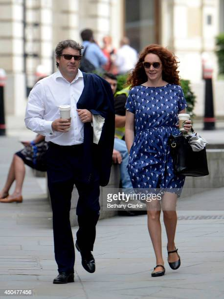 Former News International chief executive Rebekah Brooks and her husband Charlie Brooks arrive at the Old Bailey on June 12 2014 in London England...