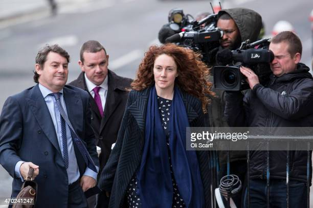Former News International chief executive Rebekah Brooks and her husband Charlie Brooks arrive at the Old Bailey on February 19 2014 in London...