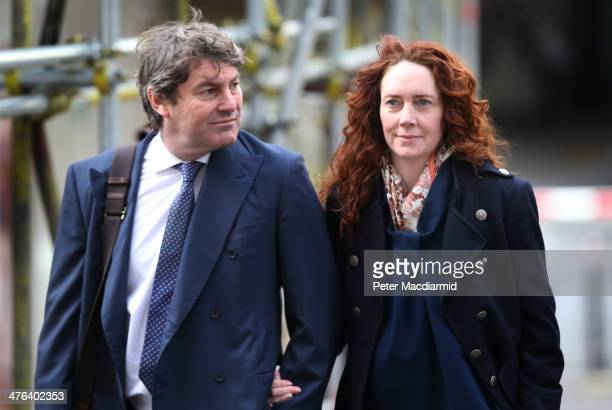 Former News International chief executive Rebekah Brooks and her husband Charlie Brooks arrive at the Old Bailey on March 3 2014 in London England...