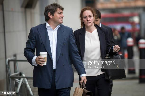 Former News International chief executive Rebekah Brooks and her husband Charlie Brooks arrive at the Old Bailey on May 6 2014 in London England...