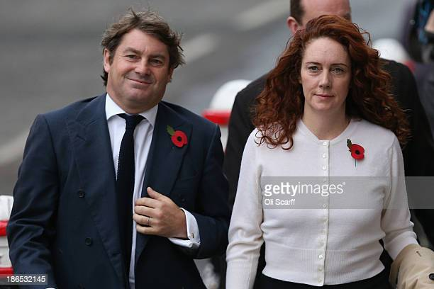 Former News International chief executive Rebekah Brooks arrives at the Old Bailey with her husband Charlie Brooks for the phonehacking conspiracy...