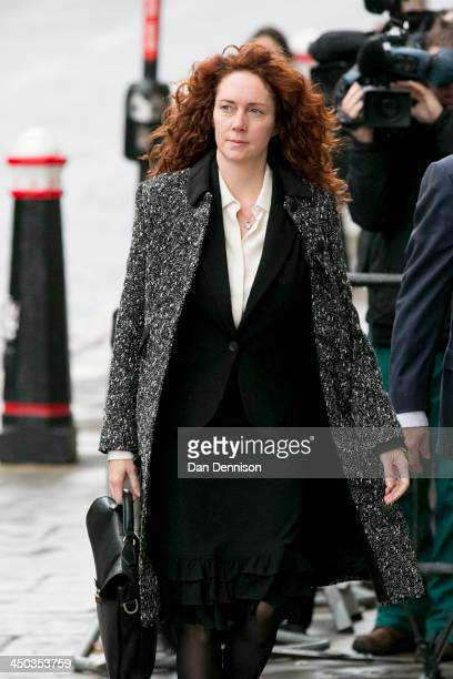 Former News International chief executive Rebekah Brooks arrives at the Old Bailey for the phone-hacking conspiracy trial on November 18, 2013 in...