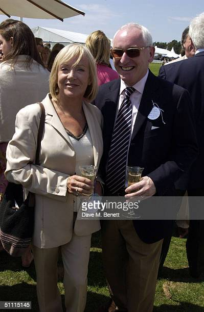 Former News Reader Carol Barnes and guest attend Cartier International Day held at Guards Polo Club Windsor Great Park on July 25 2004 in Windsor...