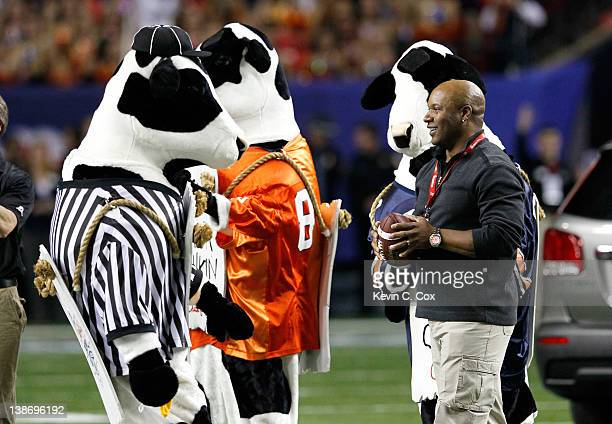 Former NFL and MLB great Bo Jackson and the ChickfilA cows prior to the game between the Auburn Tigers and the Virginia Cavaliers during the 2011...