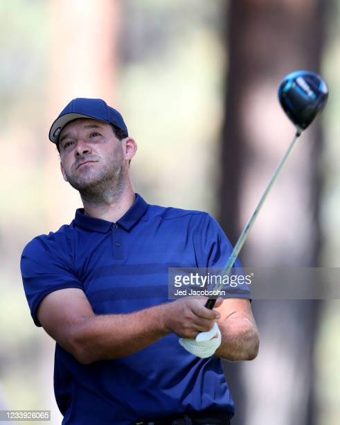 Former NFL athlete Tony Romo tees off from the second hole during the final round of the American Century Championship at Edgewood Tahoe South golf...