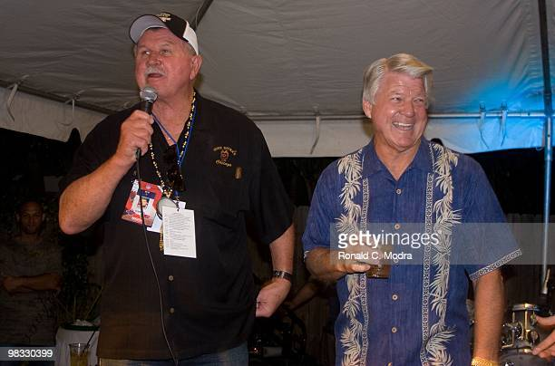 Former NFL coaches Mike Ditka and Jimmy Johnson host the 2010 Gridiron Greats Billfish Bowl at Jimmy Johnson's Bill Chill on February 4 2010 in Key...