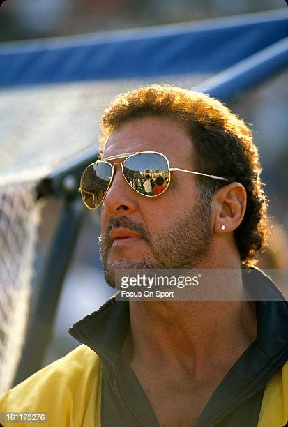 Former NFL defensive Tackle Lyle Alzado looks on during an NFL football game circa 1989 Alzado played for the Cleveland Browns from 19798 Los Angeles...