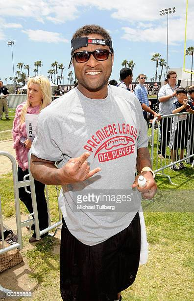 Former NFL great Andre Rison arrives at the NFL Players Premiere League Flag Football Tournament and Skills Challenge on May 23 2010 in Santa Monica...