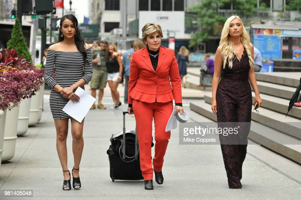 Former NFL Houston Texans cheerleader Angelina Rosa Attorney Gloria Allred and former Houston Texans cheerleader Hannah Turnbow walk to a press...