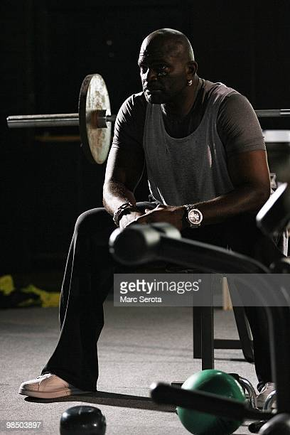 Former NFL linebacker and Hall of Famer Lawrence Taylor of the New York Giants poses during a photo shoot on April 12, 2010 in Ft. Lauderdale,...