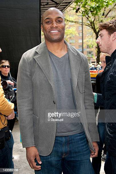 Former NFL player Amani Toomer attends the 2012 ING New York City Marathon opening day at Columbus Circle on April 25 2012 in New York City