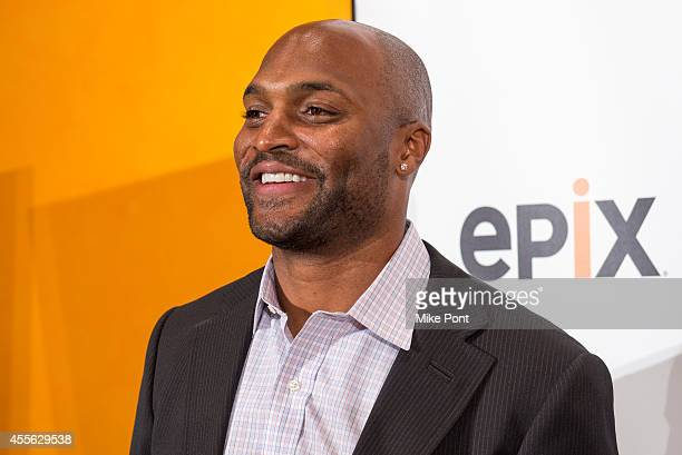 Former NFL player Amani Toomer attends the New York premiere of Forgotten Four The Integration Of Pro Football at The New York Times Center on...
