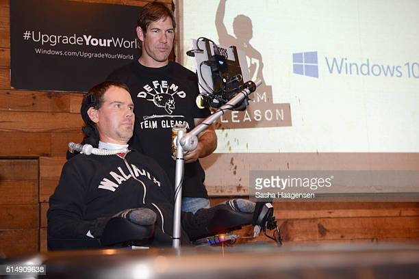 Former NFL Player and ALS Advocate Steve Gleason and former NFL player and producer Scott Fujita speak onstage during a fireside chat with Steve...
