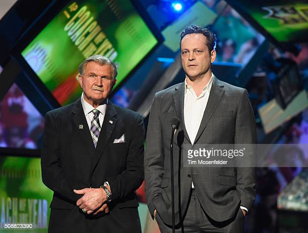 Former NFL player and coach Mike Ditka and actor Vince Vaughn speak onstage during the 5th Annual NFL Honors at Bill Graham Civic Auditorium on...