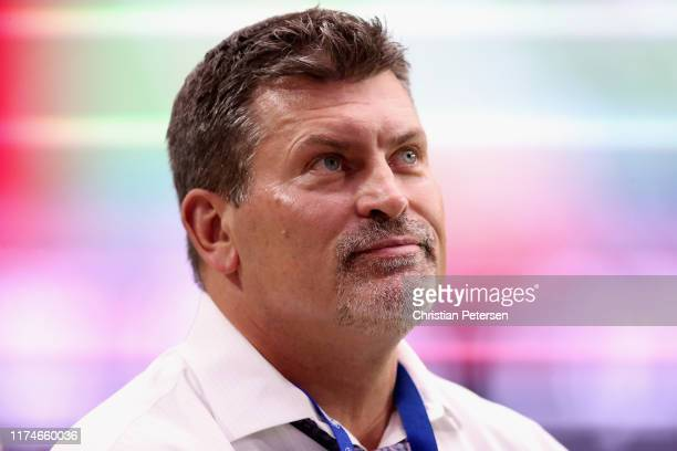 Former NFL player and current sportscaster Mark Schlereth stands on the field during the NFL game between the Arizona Cardinals and the Detroit Lions...