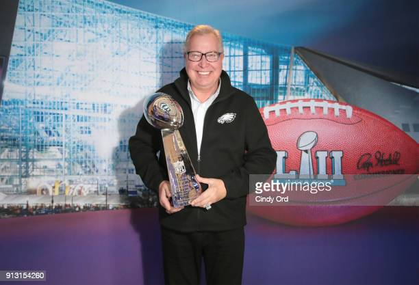 Former NFL player and NFL Hall of Fame player Ron Jaworski attends SiriusXM at Super Bowl LII Radio Row at the Mall of America on February 1, 2018 in...