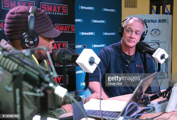 Former NFL player and sportscaster Daryl Moose Johnston attends SiriusXM at Super Bowl LII Radio Row at the Mall of America on February 1 2018 in...