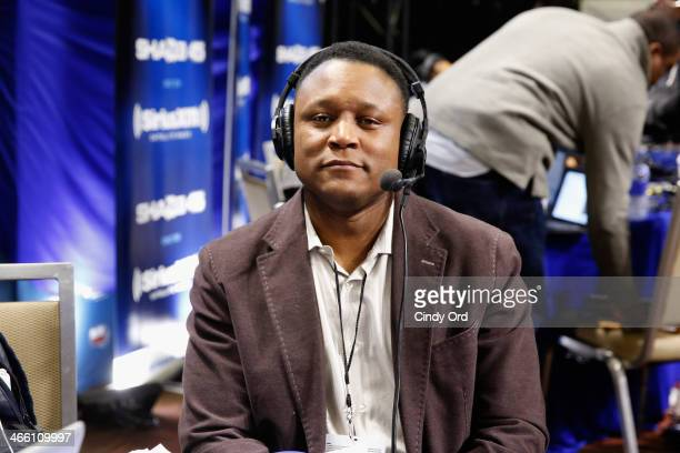Former NFL player Barry Sanders attends SiriusXM At Super Bowl XLVIII Radio Row on January 31 2014 in New York City