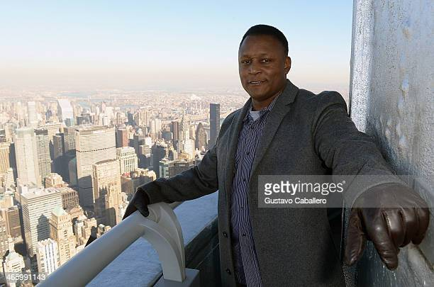 Former NFL player Barry Sanders lights the Empire State Building for the #WhosGonnaWin campaign at The Empire State Building on January 30 2014 in...
