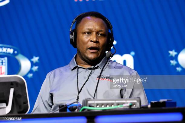 Former NFL player Barry Sanders speaks onstage during day one with SiriusXM at Super Bowl LIV on January 29, 2020 in Miami, Florida.