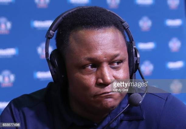 Former NFL player Barry Sanders visits the SiriusXM set at Super Bowl 51 Radio Row at the George R Brown Convention Center on February 2 2017 in...