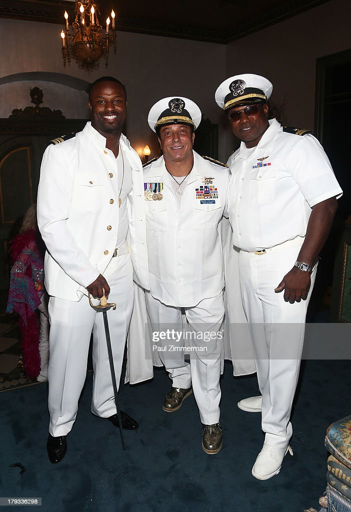 Former NFL player Bart Scott (L), Sir Ivan, Kerwin Rigaud attend Sir Ivan's Sailors and Sinners Soiree on September 1, 2013 in Water Mill, New York.