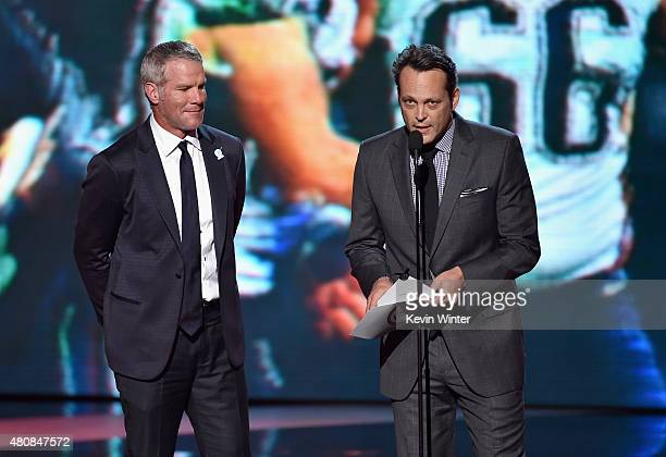 Former NFL player Brett Favre and actor Vince Vaughn speak onstage during The 2015 ESPYS at Microsoft Theater on July 15 2015 in Los Angeles...